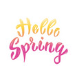 hello spring hand lettering phrase design element vector image vector image