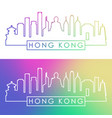hong kong skyline colorful linear style editable vector image