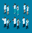isometric hospital doctor nurse surgeon vector image