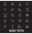 kids toys editable line icons set on black vector image