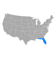 map florida in usa vector image vector image