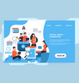 marketing landing page seo and business analytic vector image vector image