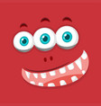monster face on red background vector image
