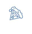 pizza slice line icon concept pizza slice flat vector image