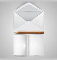 realistic opened envelope with papers and a pencil vector image