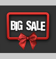 red big sale card with bow vector image vector image