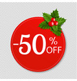 sale banner with holly berry transparent vector image vector image