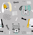 seamless pattern with cute dog faces bones and vector image vector image