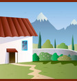 spring landscape with cottage on mountain vector image