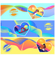 summer love photos couples in heart shape frame vector image vector image
