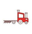 tractor farm with rake vector image vector image