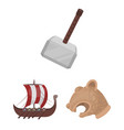 vikings and attributes cartoon icons in set vector image vector image