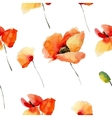 Watercolor flowers seamless pattern with poppies vector image vector image