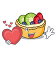 with heart fruit tart mascot cartoon vector image