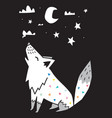 wolf howls at moon in night scandinavian vector image vector image