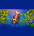 woman in bikini relaxes in boat floating in river vector image vector image