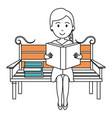 woman reading book in park chair vector image vector image