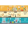 Aerobics Strength Fitness flat interior outdoor vector image
