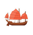 ancient oriental boat isolated on white icon vector image vector image