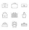 bags and suitcases icon set outline style vector image vector image