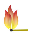 burning match with fire flame vector image