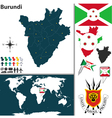 Burundi map world vector image vector image
