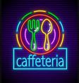 cafeteria neon signboard vector image vector image