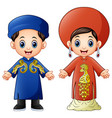cartoon vietnam couple wearing traditional costume vector image