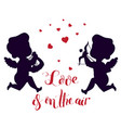 cupids silhouettes one with harp second has bow vector image vector image