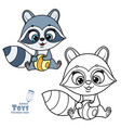 cute cartoon soft toy raccoon with a striped ball vector image vector image