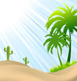 desert scene with palm treecactus sand dunes vector image