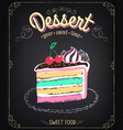 dessert cake chalking freehand drawing vector image vector image