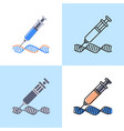 dna changing icon set in flat and line style vector image vector image
