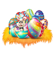 Easter eggs with an easter bunny vector | Price: 1 Credit (USD $1)