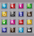 electricity glass icon set vector image