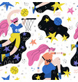 female basketball player seamless pattern vector image