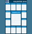 finnish planner blank for 2018 scheduler agenda vector image vector image