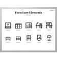 furniture elements line pack vector image