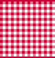 gingham red pattern vector image vector image