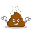 grinning poop emoticon character cartoon vector image vector image