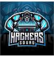 hackers esport mascot logo design vector image vector image