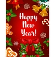 Happy New Year holidays poster vector image vector image