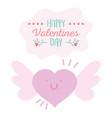 happy valentines day heart love cartoon wings vector image