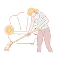 housewife mopping floor with mop in living room vector image
