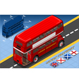 Isometric Double Decker Bus in Rear View vector image vector image