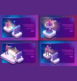 isometric set gaming experience in virtual reality vector image vector image