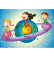 kids on planet vector image vector image