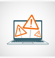 laptop screen with sign error symbol vector image