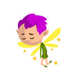 little winged sad elf boy with purple hair cute vector image vector image