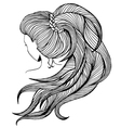 Long ponytail - line art vector image vector image